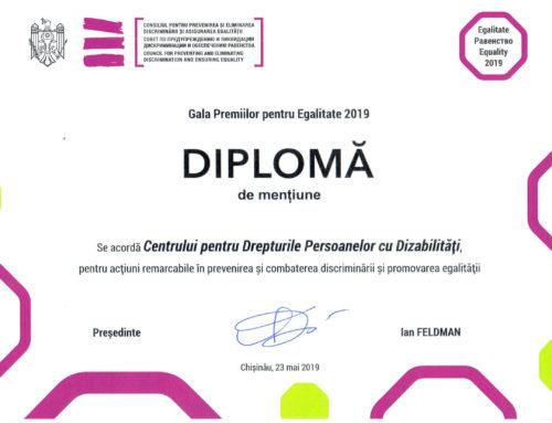 Diplomă de mențiune pentru acțiuni remarcabile în prevenirea și combaterea discrimonării și promovarea egalității