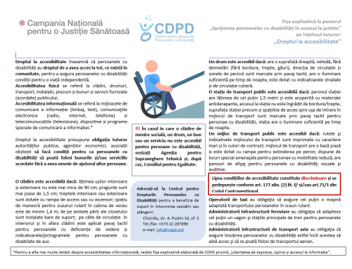Dreptul la accesibilitate – Fișa explicativă