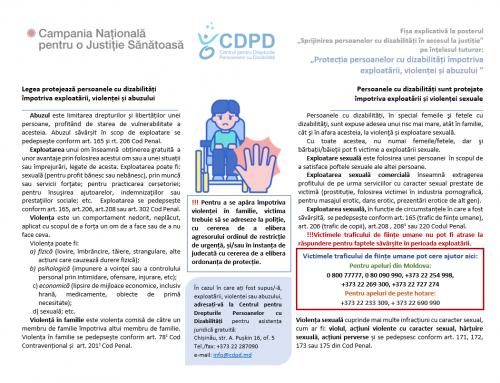 Protecția persoanelor cu dizabilități împotriva exploatării, violenței și abuzului – Fișa explicativă