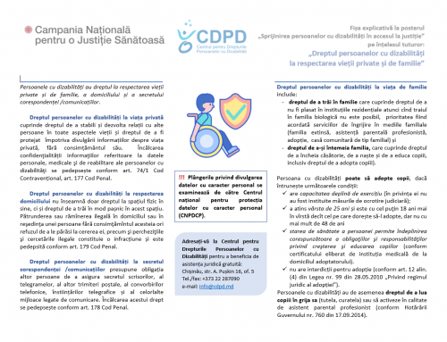 Dreptul persoanelor cu dizabilități  la respectarea vieții private și de familie