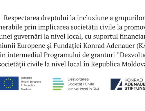 Respectarea dreptului la incluziune a grupurilor vulnerabile prin implicarea societății civile la promovarea bunei guvernări la nivel local